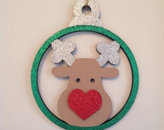 Large 15cm Rudolph bauble by Duck Duck Goose