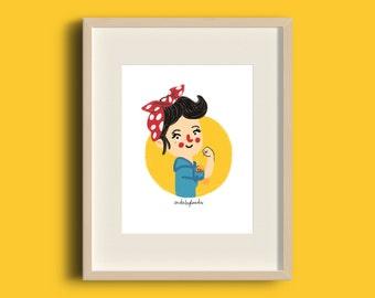 Ilustración 'I can do it' impresión digital para decorar tu hogar. Dibujo. Decoración de casa. Paredes bonitas. Mujer. Revolución