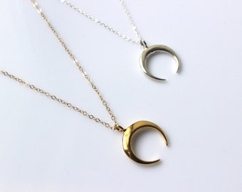 Necklace Silver 925 gold plated or Crescent Moon pendant
