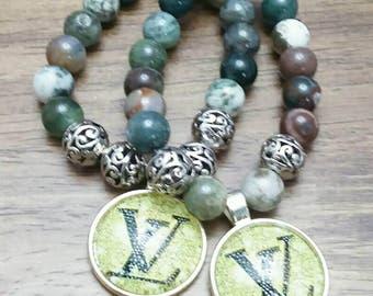 Green Beaded Charm Bracelet Set