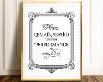 Funny bathroom decor, PRINTABLE art, Please remain seated, Seat yourself sign, Bathroom art, Bathroom wall decor, Kids bathroom art prints