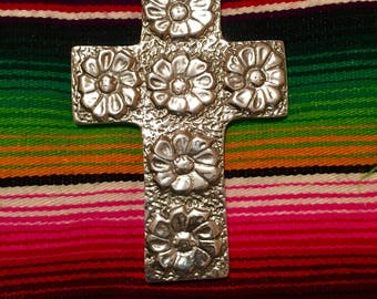 Pewter cross with sunflowers
