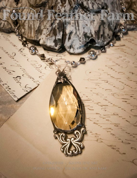 Handmade Vintage Honey Teardrop Crystal Pendant with Silver Victorian Detail and Handmade Bead Necklace Chain