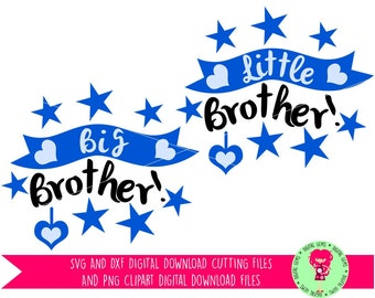 Big Brother, Little Brother SVG / DXF Layered Cutting Files For Cricut Explore / Silhouette Cameo & PNG Clipart, Digital Download