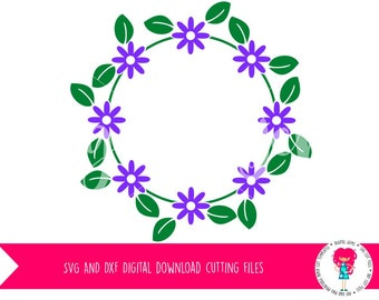 Flower Frame SVG / DXF Cutting File For Cricut Explore / Silhouette Cameo & PNG Clipart, Digital Download, Commercial Use Ok