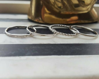Silver stacking rings set (TWO RINGS); sterling silver stacking rings; stackable rings; silver rings; stacking set; simple rings