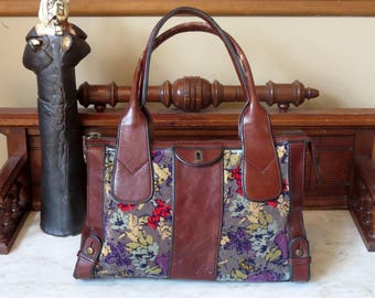 Fossil Floral Carpet Bag With Brown Leather Trim And Antique Brass Hardware- VGC
