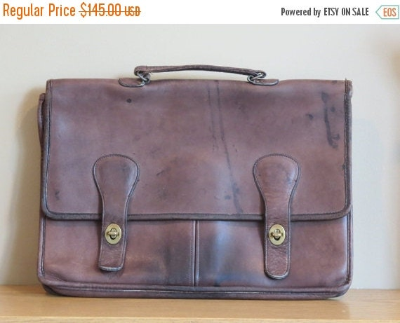 Football Days Sale Rugged 1970's NYC Vintage Coach Brown Distressed Daliesque Leatherware Brief Bag No 998-4316- Made in New York City U.S.A