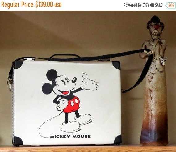 Football Days Sale Vintage Mickey Mouse Bermas Briefcase 1930's Walt Disney Illustration- Black & White Vinyl - Made In West Germany- Rare