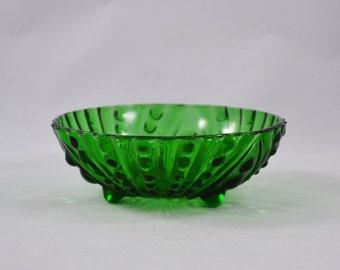 Vintage Emerald Green Anchor Hocking Bubble Footed Bowl, Vintage Greenware Footed Berry Bowl