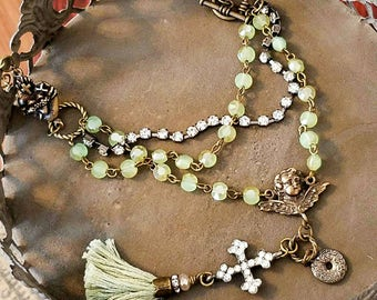 Vintage Tassel Necklace August Birthstone Peridot   Rosary rinestone cross cherub flaming heart Victorian beaded necklace Christian jewelry