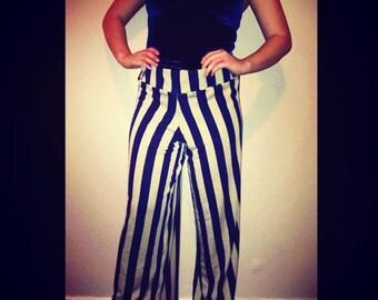 Women's palazo pants navi and tan stripes