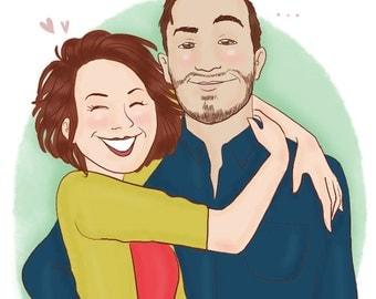 Custom couple portrait - illustration