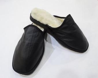 Valentines gift,Black Slippers,Fur Slippers F448