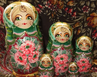Russian matryoshka doll nesting babushka beauty girl Green handmade