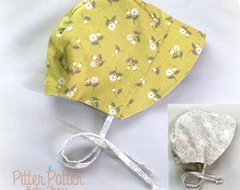 Olive Baby Bonnet - Summer Baby Bonnet - Toddler Bonnet - Baby Sun Hat - Reversible Bonnet -Baby Shower Gift -Baby Sun Bonnet-Olive and Gray