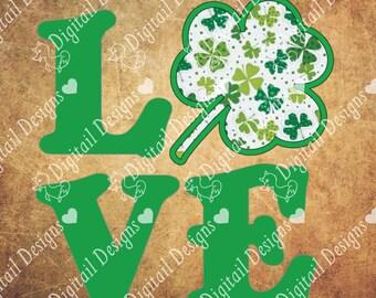 St Patrick's Day SVG PNG DXF Eps Fcm Ai Cut file for Silhouette, Cricut, Scan n Cut - Vinyl and Fabric Appliqué method - Appliqué Shamrock