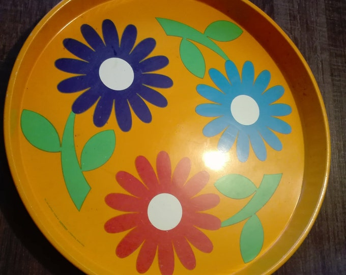 Vintage yellow flowered serving tray, no 1651 Caprice, made by handiware, liverpool