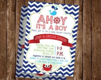 Nautical baby shower invitation - ahoy its a boy