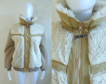 35%offJuly21-24 70s ski coat size medium, faux fur & chunky knit acrylic coat, womens winter coat, 1970s puffy weather tamer brown beige