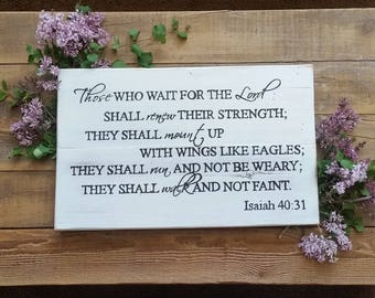 they that wait upon the Lord, wood signs, inspirational signs, religious signs, wood scripture signs, handpainted sign, living room decor