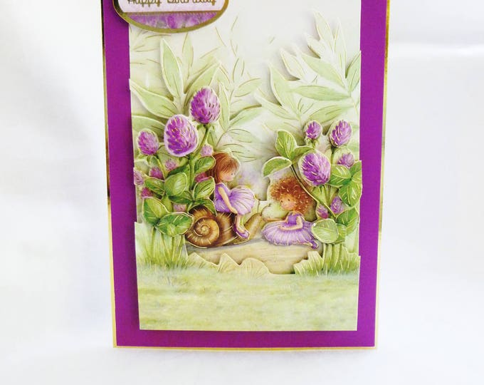 Two Little Girls Sitting Under Clover, Birthday Greeting Card, 3 D Decoupage Card,  Female, Girls, Any Age