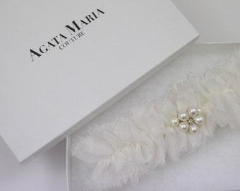 JOY, silk ivory chiffon garter with pearl flower toss garter set gift bridal lingerie bridal shower gift set
