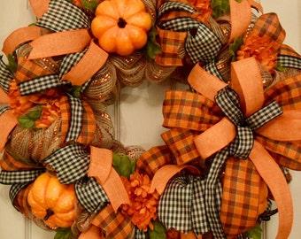 Orange Metallic Jute and Burlap Mesh Wreath with Pumpkins; Large Fall Mesh Wreath; Fall Decor Autumn Decor Wreath Pumpkins; Handmade Wreath