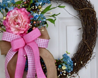 Pink and Blue Spring Grapevine Wreath with Peony and Berries; Handmade Wreath; Spring Floral Wreath Door Decor; Summer Wreath Door Decor