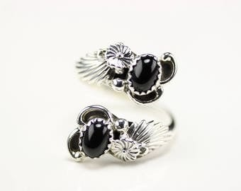 Native American Indian Jewelry Handmade Sterling Silver Onyx Adjustable Ring Size 8 1/2