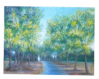 "Original oil painting ""The path in the park"""
