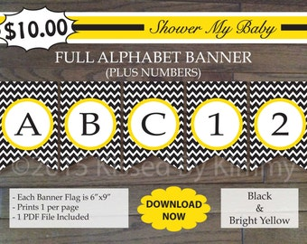 70% Off SALE- Construction Baby Shower - FULL ALPHABET + Numbers Banner -Printable Chevron Birthday Banner- Black Bright Yellow 21-5