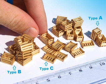 2 Miniature wooden crates boxes, Built, HO OO scale for dollhouse diorama model train storage scenery