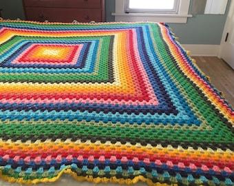 Fabulous Cheerful Rainbow Afghan Granny Square 1970s Retro Cabin Chic Cozy