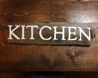 Distressed Kitchen Sign Natural Barnwood