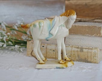 Vintage  horse figurine - Tang Dynasty horse figurine - Glazed ceramic - Tang horse statue