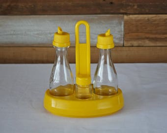 Condiment server - Abert - Vintage - Yellow plastic and Glass - Retro kitchen - Oil, vinegar, salt, pepper
