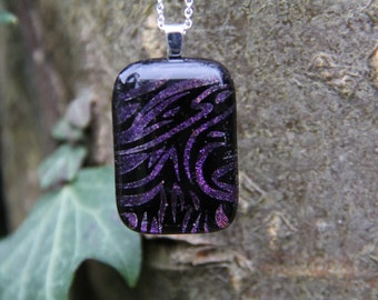Purple flame dichroic glass pendant,  dichroic necklace, fused glass jewellery, purple dichroic, purple dichroic necklace, birthday gift