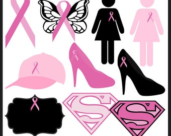 23 Breast Cancer Awareness Clipart Pack - Commercial Use, Hot Pink, Ribbon, Think Pink, Super Woman, Butterfly, WonderWoman, Printable