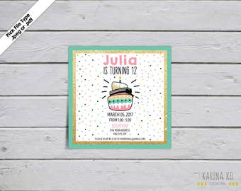 Cake with Gold Glitter, Aqua, Black and Pink 5x5 Invitation