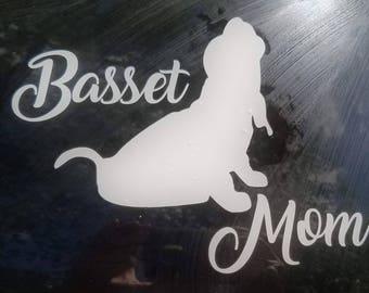 Basset hound mom car decal, basset mom decal, basset hound sticker, basset hound lover, basset hound lover sticker