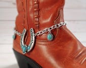 Turquoise horseshoe boot bracelet, Silver & turquoise horseshoe boot anklet, Boot bling, Cowgirl boot candy, Cowboy boot bracelet, OOAK