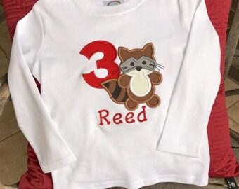Embroidered Shirt | Birthday Shirt | Personalized Shirt | Racoon Shirt  | Boys personalized Shirt | Number Shirt | Woodland Birthday
