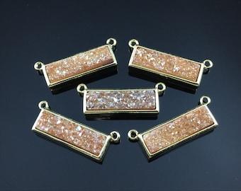 Tangerine Druzy Pendant Double Bail Rectangle Druzy Pendant Gold Bezel Druzy Pendant Druzy Rectangle Pendant Drusy Jewelry Supplies 1pc