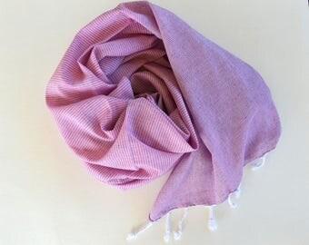 Thin and Thinner Stripped TURKISH TOWEL set - PESHTEMAL  Hammam Towel Beach Towel Thin and Light  Fouta  Guest Towel Gift Idea Purple - Pink