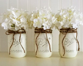 Mason Jar Vases, 3 White Mason Jars, Painted Mason Jars, Distressed Mason Jar, Vase, Vintage Decor, Wedding Centerpiece, Mason Jar Decor,