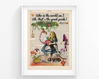Alice In Wonderland Vintage Illustration Upcycled Page Print Decorative Art Book Page Print Wall decor Retro Poster Vintage Book print 113