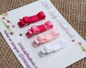 Pink baby clips set hearts pink baby hair clips infant hair clips tiny small toddler barrettes tuxedo bows - no slip