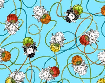 Knit Happy, Knitting Fabric, Sheep Fabric, Fabric with yarn, Multicolored yarn balls and sheep on blue, Henry Glass, 1075-16