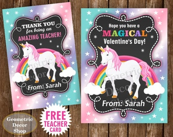 Unicorn Valentine Card / Rainbow Valentines Card / Valentine's Day / Personalized Valentine Tags teacher Kids Classroom VCard15